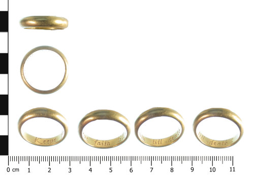 WAW-9E8A93: Post Medieval finger ring (profile, plan and inscription).
