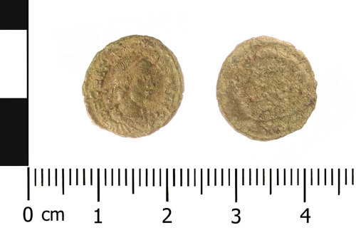 WAW-A3F4D0: Roman coin: nummus of Gratian (Obverse and reverse).