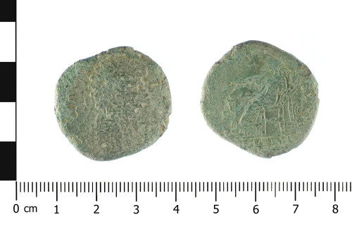 WAW-B180D5: Roman coin: sesterius of Lucius Verus (Obverse and reverse).