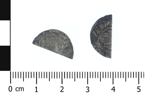 WAW-B2F817: Medieval coin: A silver cut halfpenny of either John or Henry III (Obverse and reverse).