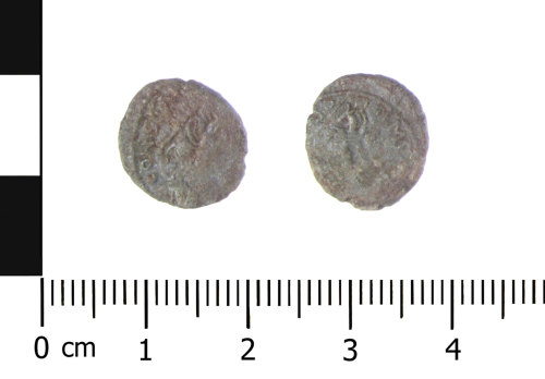 WAW-B7DDF8: Roman coin: contemporary copy nummus of the House of Constantine (Obverse and reverse).