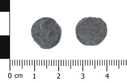 WAW-B7FEA6: Roman coin: contemporary copy of a nummus of the House of Constantine (Obverse and reverse).