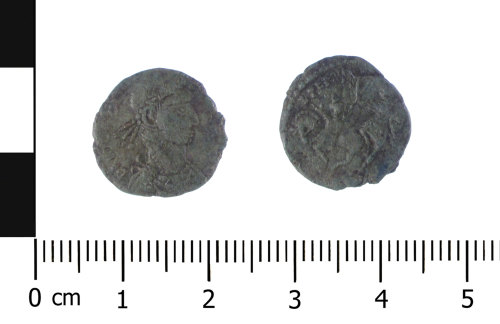 WAW-B82A36: Roman coin: contemporary copy of a nummus of the House of Constantine (Obverse and reverse).