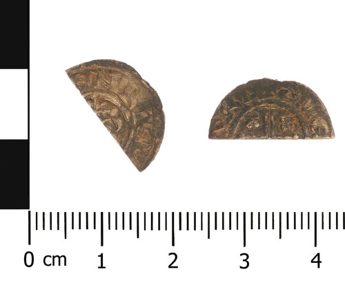 A resized image of Medieval coin: cut half halfpenny of John (Obverse and reverse).