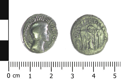 WAW-DB3F2E: Roman coin: denarius of Octavian (Obverse and reverse).