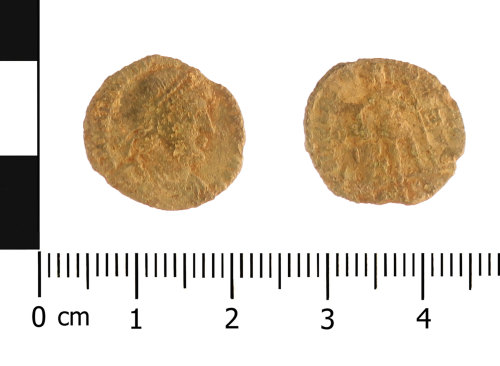 WAW-EB4232: Roman coin: nummus of the House of Valentinian (Obverse and reverse).