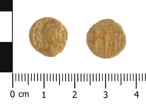 WAW-EB7D5A: Roman coin: nummus of the House of Constantine (Obverse and reverse).
