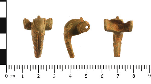 WAW-F0C1FE: Roman brooch: Polden Hill type (plan, profile and reverse).