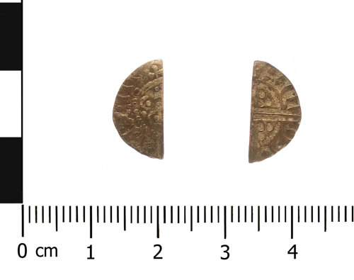 WAW-F0D8FB: Medieval coin: cut halfpenny of Henry III (Obverse and reverse).