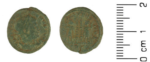 WMID-C565F5: Roman Coin: Nummus of Constantine I (Obverse and reverse).