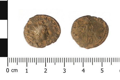WAW-4C98E6: Roman coin: radiate of Tetricus I (Obverse and reverse).