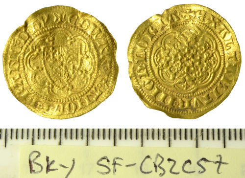 SF-CB2C57: Medieval coin: quarter noble of Edward III