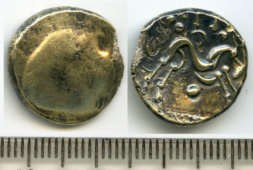 BM-3908FF: Iron Age coin: stater, Gallo-Belgic import of the Ambiani, c.60-50 BC, 'Gallic War Uniface' type
