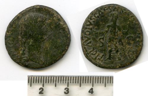 BM-3F94C9: Roman coin: dupondius of Antonia, contemporary copy