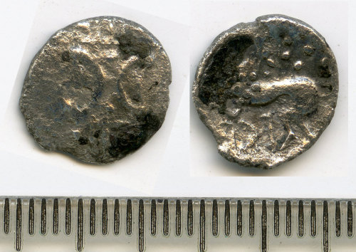 BM-E46C2A: Iron Age coin: silver unit of the East Anglian region, Iceni Ecen Retro type