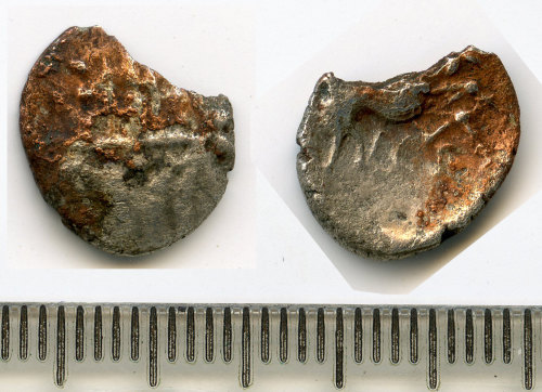 BM-E7E438: Iron Age coin: silver unit of the Eastern Anglian region, Iceni Ecen Trefoil type