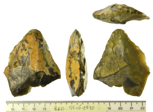 SF-610570: A patinated and snapped flake of possible final Upper Palaeolithic to Mesolithic date
