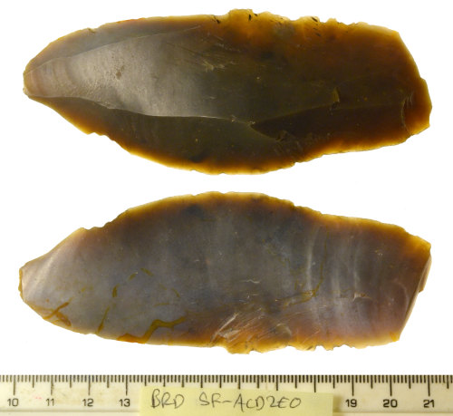 SF-ACD2E0: Flint long flake or blade of possible final Upper Palaeolithic to Mesolithic date