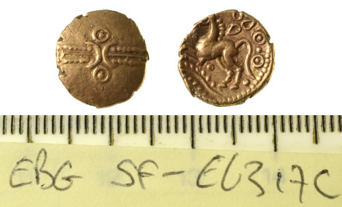 SF-E6317C: Iron Age coin: Trinovantian quarter stater of Dubnovellaunos