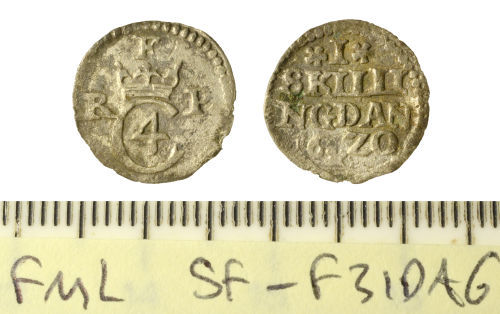 SF-F31DA6: Post-Medieval coin: Danish one Skilling coin of Christian IV