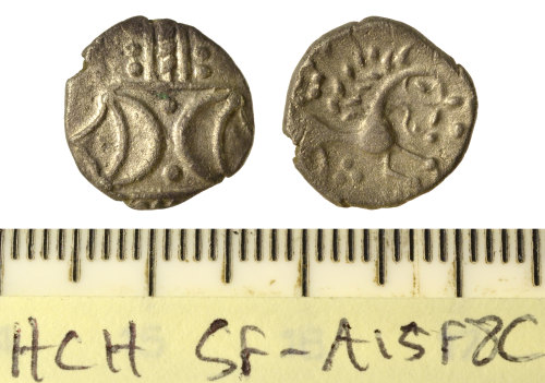 SF-A15F8C: Iron Age coin: unit of the Iceni, Pattern/Horse, probably ANTED type