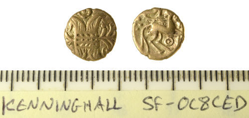 SF-0C8CED: Iron Age coin: uninscribed East Anglian quarter stater of Irstead type