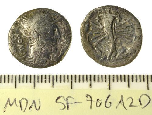 SF-706A2D: Roman coin: Republican denarius of Q. Fabius Maximus