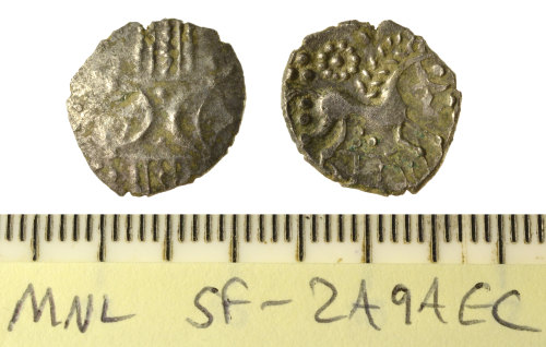 SF-2A9AEC: Iron Age coin: unit of the Iceni, Pattern/Horse ANTED type