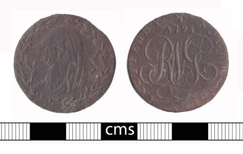 BERK-4D7838: Post-medieval token: Conder token
