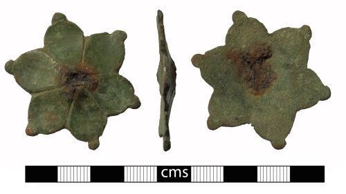 BERK-16AE04: Medieval mount: Sexfoil mount