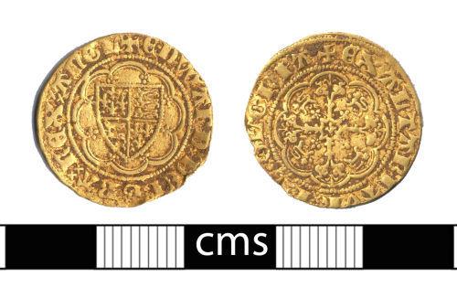 BERK-2E24E2: Medieval coin: Quarter noble of Edward III