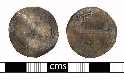 BERK-0A37EC: Post-medieval coin: Sixpence of Elizabeth I
