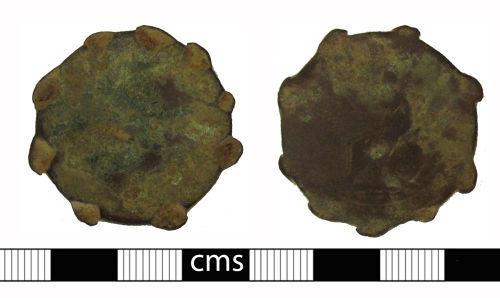 BERK-996FDA: Post-medieval coin: Altered halfpenny of George III