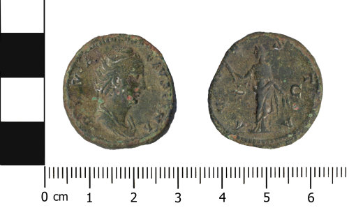 OXON-D6501B: Roman coin: As of Faustina I