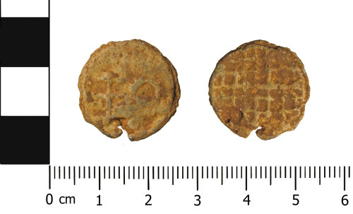 OXON-56F694: Post-medieval token: Lead token