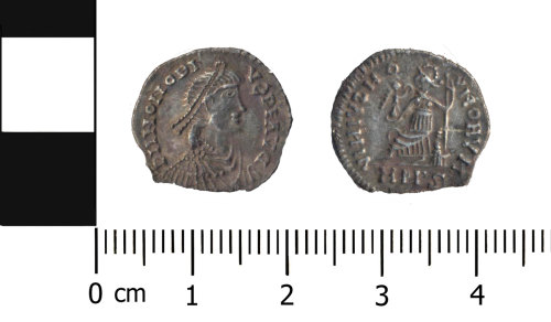 A resized image of Roman coin: Silver copy of a siliqua of Honorius
