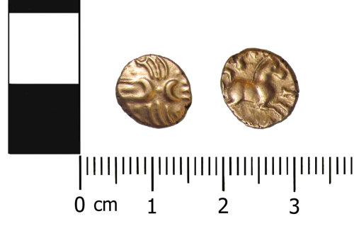 OXON-2913B2: Iron Age coin: Quarter stater of the Catevellauni