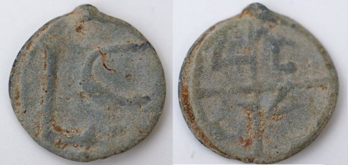 BERK-4C83A6: Post-medieval token: Lead token