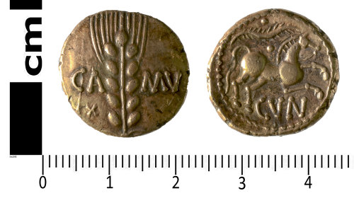 SWYOR-4EDC75: Iron Age coin; gold stater of Cunobelinus, Linear type