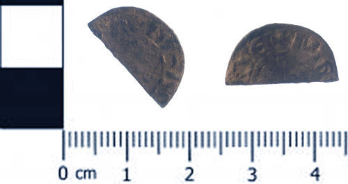 SWYOR-621301: Medieval coin; cut half penny of John or Henry III