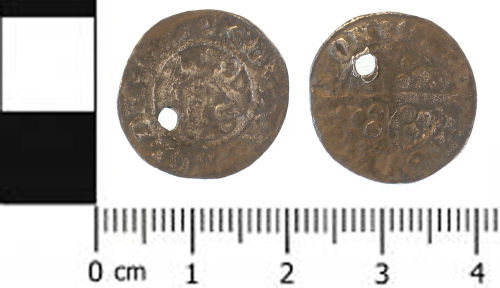 SWYOR-DE87D4: Medieval coin; penny of Edward II, class 11