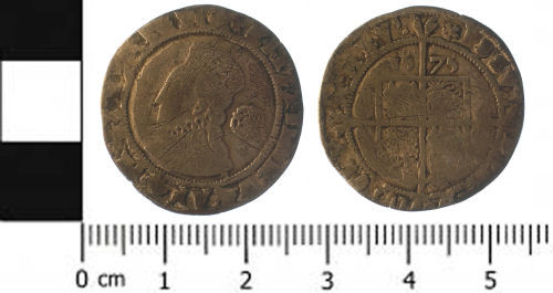 SWYOR-BADCD4: Post medieval coin; sixpence of Elizabeth I