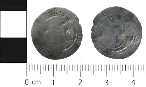 SWYOR-242861: Post Medieval coin; three pence of Elizabeth I