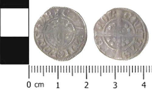 SWYOR-BACCF1: Medieval coin; penny of Edward I, Class 3