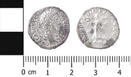 SWYOR-C170A5: Roman coin; denarius of Commodus