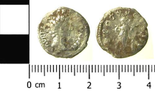 SWYOR-DD4C97: Roman coin; denarius of Marcus Aurelius as Caesar