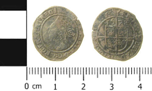 SWYOR-F13F35: Post Medieval coin; three pence of Elizabeth I
