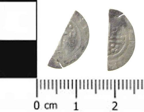 SWYOR-3C2BA4: Medieval coin; cut half penny of John or Henry III, class 5b - 6c