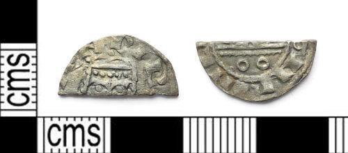 SWYOR-0E8D91: Medieval coin; cut half penny of Henry I