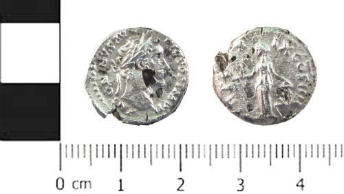 SWYOR-A10C39: Roman coin; plated denarius of Antoninus Pius